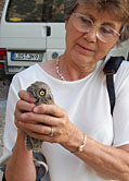 Margaret Clurow Holds Little Owl